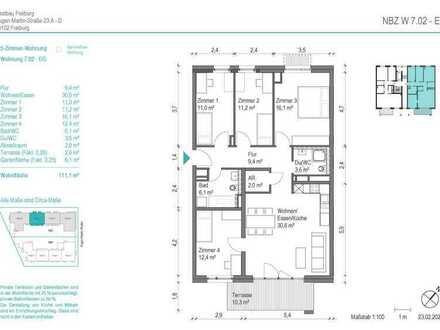 NEUBAU! Schöne 5 Zimmer-Wohnung (NBZ 7.02) mit Terrasse und Vorgarten zum begrünten Innenhof