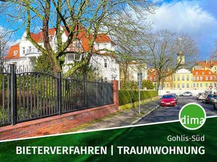 BIETERVERFAHREN   Traumwohnung in Villa am Gohliser Schlösschen mit Südbalkon, Keller, Stellplatz