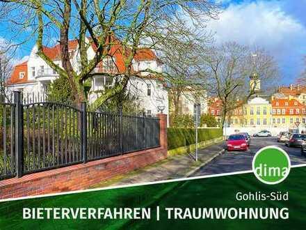 BIETERVERFAHREN | Traumwohnung in Villa am Gohliser Schlösschen mit Südbalkon, Keller, Stellplatz