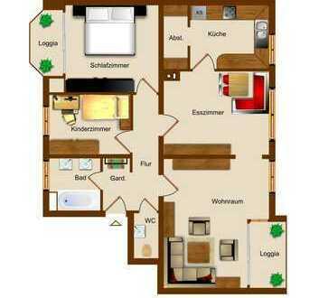 ##Gepflegte Obergeschosswohnung in zentraler Lage mit zwei Balkonen##