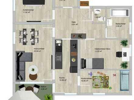 Lichtdurchflutete 4-Zimmer-Wohnung inklusive Einbauküche