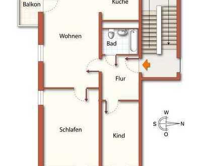 3-Raum-Wohnung mit Balkon im Stadtzentrum