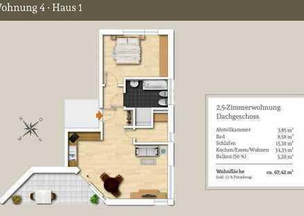Durchdachte 2,5-Zi.-Obergeschosswohnung mit großem Sonnenbalkon