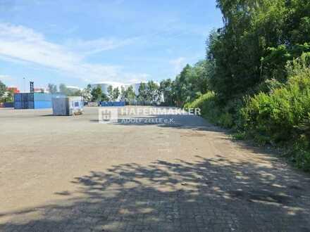 Befestigte Freifläche mit Büro im Hafen!