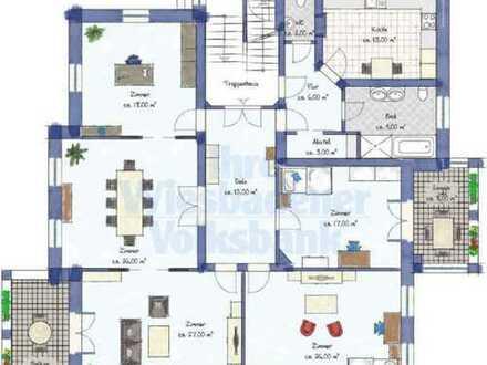 Exklusive, modernisierte 5-Zimmer-Hochparterre-Wohnung mit Balkon und EBK in Wiesbaden