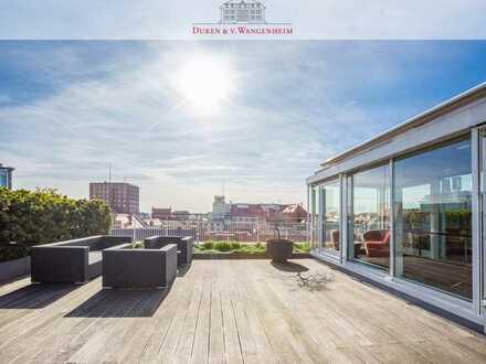 Rooftop-Dachterrassenwohnung mit Blick auf den Dom und die Alpen.