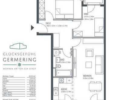 Erstbezug: 3-Zimmer-Wohnung, 3. OG , Stellplatz mit Wallbox, am S-bahn Harthaus, M-innenstadt Zone