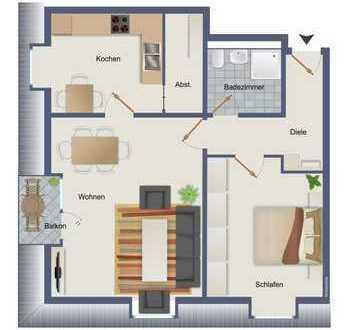 Schön geschnittene 2 Raum DG Wohnung mit Balkon und Weitblick