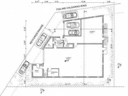 Gewerbeliegenschaft mit Lager-/Produktionsflächen + Baugenehmigung für eine Aufstockung