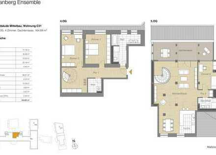4 Zi.-Whg., Dachterrasse, historischen Altau auf zwei Ebenen, Einbauküche, Münsterblick