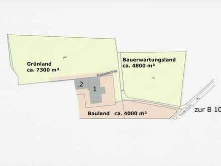 Bauland - teilerschlossenes Grundstück 1,6 ha mit großer Scheune
