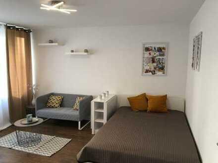 Sanierte,voll möblierte 1-Zimmer-EG-Wohnung mit Balkon, inkl. TG, Möbel, TV und EBK!