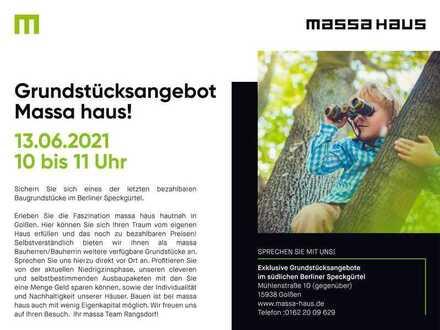 Grundstücksbesichtigung excklusiv von massahaus in Golßen!Am Sonntag den 13.6.2021 von 10-11 Uhr!