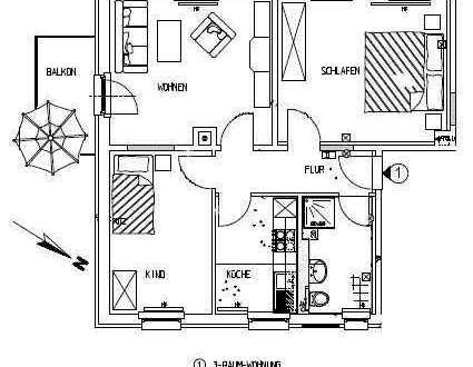 Schöne 3-Zimmer-Wohnung mit Balkon, Laminatboden, Bad mit Fenster und Dusche, Küche mit Fenster ....