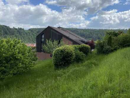 VON PRIVAT: ruhige Top-Waldrandlage, Fern-Panoramablick, Galerie, 3 Tgl.-Bäder, EBK, Garten, Sauna