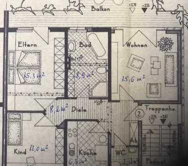 Gepflegte 3-Zimmer-Wohnung mit schönem 24 qm großen Balkon mit Nachmittag- und Abendsonne