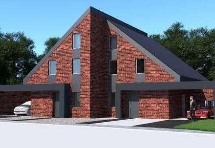 Neubau-Doppelhaushälfte in Sandkrug,unverbauter Blick auf das Landschaftsschutzgebiet