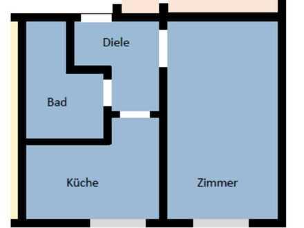 GE-Bismarck: 1 Zim, Küche, Diele, Bad | 33 m² | Renoviert | 200 € + NK