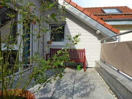 Gemütliche Maisonettewohnung mit einer Terrasse und Ausblick ins Grüne