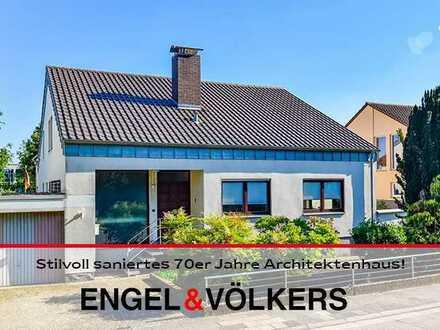 Stilvoll saniertes 70er Jahre Architektenhaus auf schönem Grundstück!