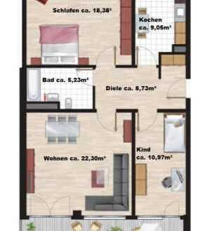 Neuwertige 3-Zimmer-Wohnung mit Balkon und Einbauküche in Perlach, München
