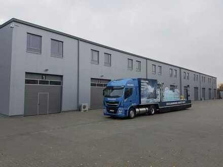 SOFORT & PROVISIONSFREI BEZIEHBAR: moderne Neubauhalle 2x600m², 19 klimatisierte Büros, 100 Parkplät