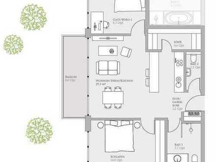 2,5 Zimmer mit ca. 71 qm auf der Erba-Insel 1.OG am Wasser