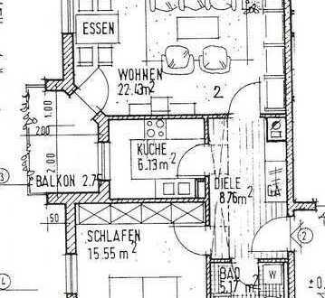 2 Zimmer im Erdgeschoss