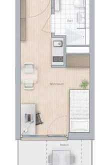 Für Studenten/Azubis 1-Zi-Apt. m. Balkon - 22,2 m² - 2.OG Südseite