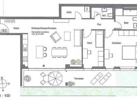 Erstbezug: stilvolle 3,5-Zimmer-Hochparterre-Wohnung mit Einbauküche und Balkon in Pforzheim