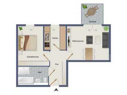 Seniorengerechte, barrierefreie 2-Raum EG Wohnung nahe Unterbacher See