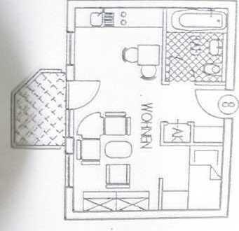 Nußloch-Waldrand! Ab 01.03.2020 1-Zimmerwohnung/Balkon komplett möbiliert