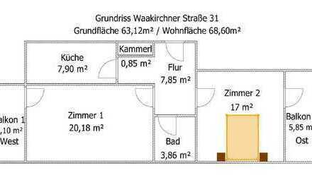 Luxus 2 Zimmer-Wohnung mit 2 Balkonen, EBK und TG-Einzelstellplatz in ruhiger Einbahnstraße