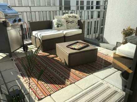 Neubau: stilvolle, geräumige 2-Zimmer-Wohnung mit Balkon und Einbauküche