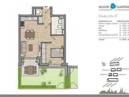 Helle 2-Zimmer-Erdgeschosswohnung mit Terrasse und Garten