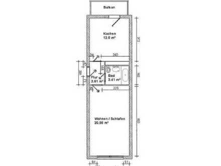 1-Raum-Wohnung mit Balkon im EG