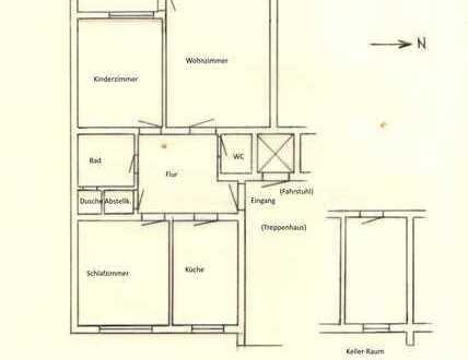 Modernisierte Wohnung mit drei Zimmern sowie Balkon und Einbauküche in Erlangen