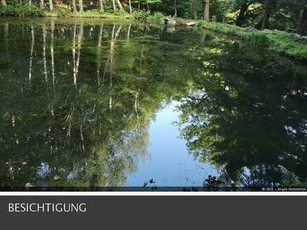 Traumhaft schöne Teichanlage mit Fischerhütte in Alleinlage !