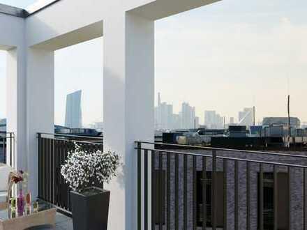 Penthouse in optimaler Süd-West-Ausrichtung mit Blick zum Wasser und auf die Frankfurter Skyline