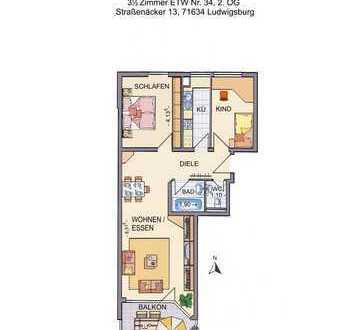Stilvolle, gepflegte 3,5-Zimmer-Wohnung mit Balkon und EBK in Ludwigsburg-Eglosheim