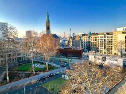 DG-Wohnung (4 Zi) mit Balkon + einzigartigem Blick über Düsseldorf: 2-3 Jahre befristet