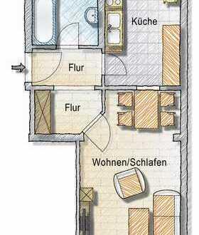 Altbauwohnung sucht Single - Küche und Bad mit Fenster