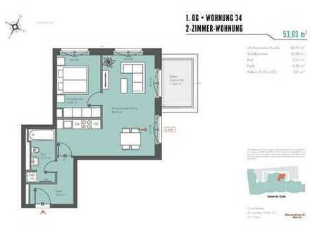 Neubau-Erstbezug - 2-Zimmerwohnung mit Balkon in ruhigen Innenhof und EBK