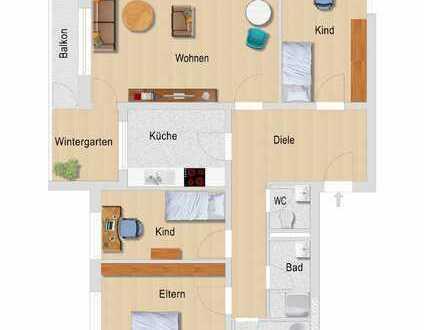 Gemütlicher Wintergarten, Balkon und helle Wohnräume : Vier-Zimmer-Erdgeschosswohnung im Himmelreich