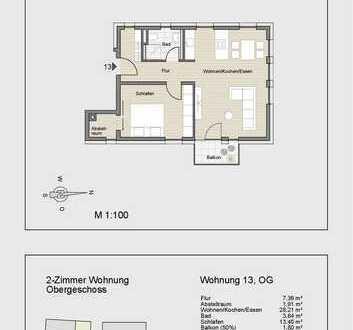 Attraktive 2- Zimmerwohnung im Obergeschoss mit Balkon mit Hobbyraum und Stellplatz