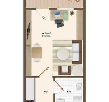 Helle ca. 24 m² große 1-Zimmerwohnung mit Balkon in Karlsruhe - optimal für Studenten