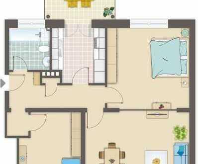 Top sanierte 3 Zimmerwohnung mit großem Balkon in modernisierten Haus