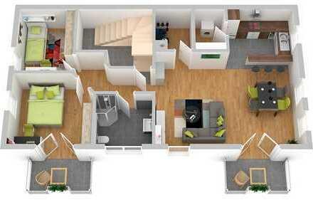 Moderne Eigentumswohnung im Obergeschoss mit Balkon - Erstbezug