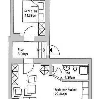 ++ 2-Raum-Souterrain-Wohnung mit Dusche ++