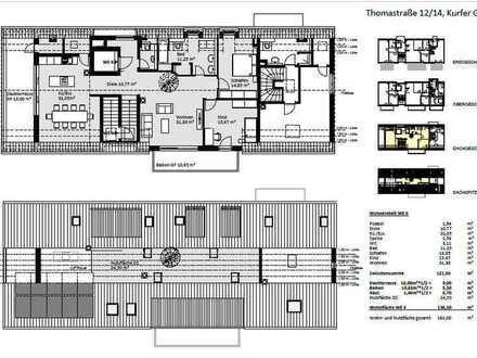 Gepflegte 4-Raum-Penthouse-Wohnung mit Balkon und Einbauküche in Augsburg